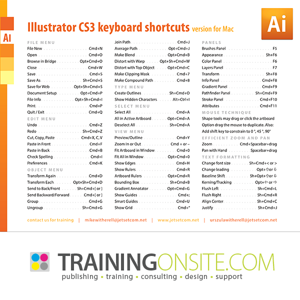 Illustrator CS3 keyboard shortcuts