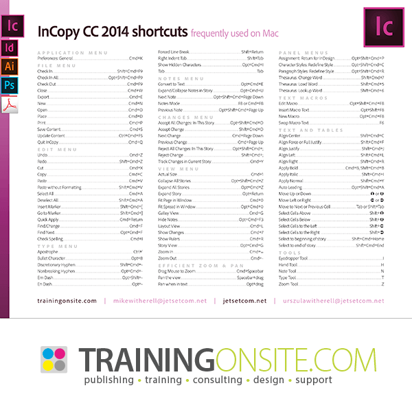 InCopy CC 2014 frequently-used keyboard shortcuts