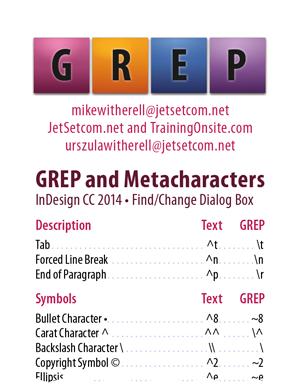 InDesign CC 2014 GREP and Metacharacters for hand-held devices