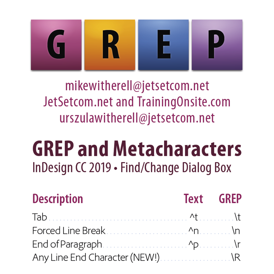 InDesign CC 2019 GREP mobile