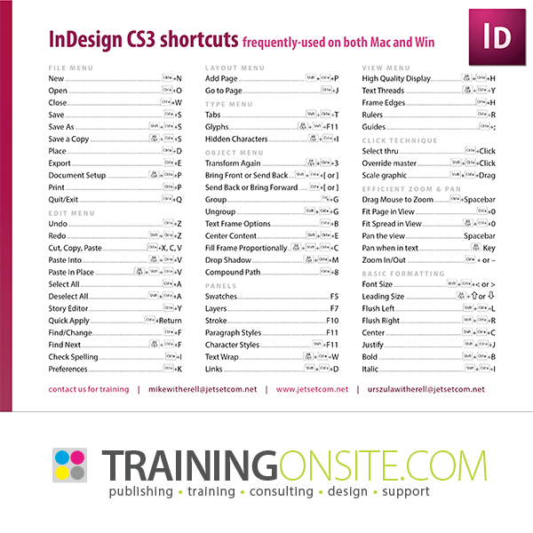 InDesign CS3 frequently-used keyboard shortcuts